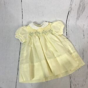 Vintage 60s Polly Flinders Hand Smocked Yellow Newborn Dress B7