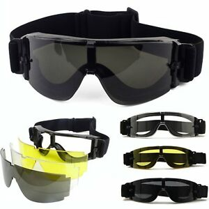 Tactical Military Airsoft 3 Lens Safety Protection Goggles Glasses Eye Wear FV