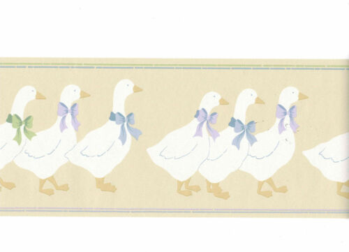 Duck Parade Bow Ducky Buttonville Collection Beige Country Wallpaper Border