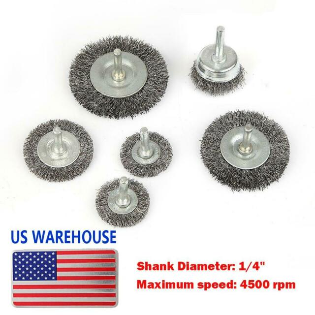 """6pc Wire Brush Set 1//4/"""" Shank Power Drill Wheel Cup Deburr Crimped Remove Paint"""