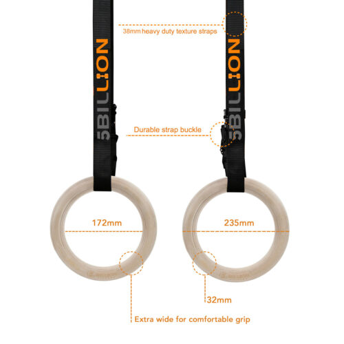 28//32 mm Wooden Gymnastic Rings with Straps Home Gym Fitness Strength Training