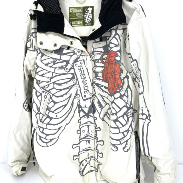 Grenade Fatigue Project Unbreakable White Skeleton Snowboard Coat Size M