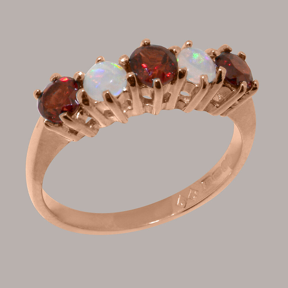 18k pink gold Natural Garnet & Opal Womens Eternity Ring - Sizes 4 to 12