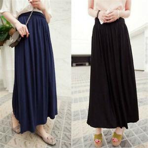 Women-Pleated-Fold-Over-Waist-Jersey-Maxi-Ladies-Long-Length-Viscose-Gypsy-Skirt