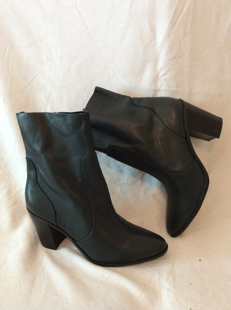 M&S Collection Dark Grey Ankle Leather Boots Size 5