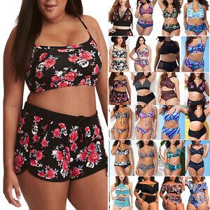 Damen Hohe Taille Bikini Tankini Set Push Up Bademode Übergröße Badebekleidung