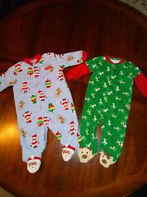 CARTERS CHRISTMAS GREEN SLEEP /& PLAY BODYSUIT 0-3 AND  3-6 SANTA  NWT