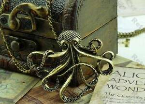 Octopus-Necklace-Antique-Bronze-Nautical-Steampunk-Long-Chain-Squid-Pirate-Goth