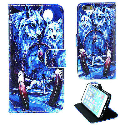 Dream Catcher Wolf Wallet card slot PU Leather Stand Case Cover Skin for Phones