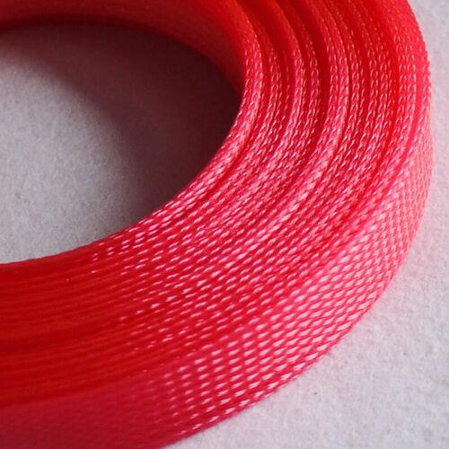 Ø3~25mm Fluoreszierend Pink PET Geflechtschlauch Gewebeschlauch Kabel Sleeve