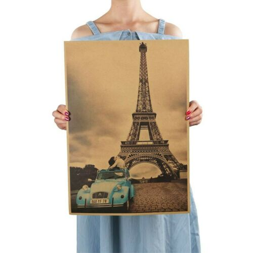 Paris Eiffel Tower Nostalgia Photo Paper Poster Bar Home Wall Retro Art Decor