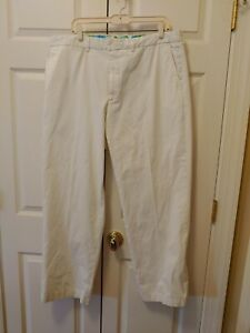 Men Lilly Pulitzer Solid White Flat Front Addison Pants Size 38 31