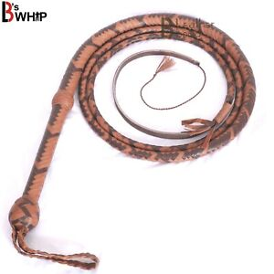 Indiana-Jones-Bull-Whip-06-Foot-16-Strands-Brown-Cow-Hide-Real-Leather-Bullwhip