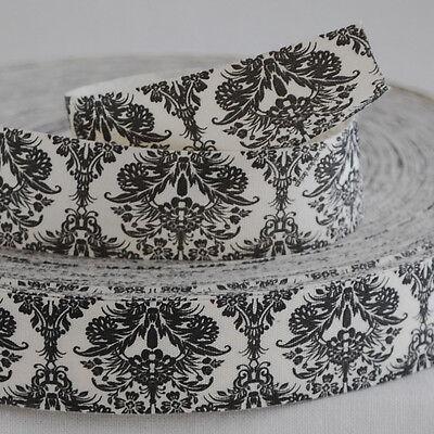 Retro Cotton Fabric Ribbon Trim Sewing Label - Vintage Style Black Floral Flower