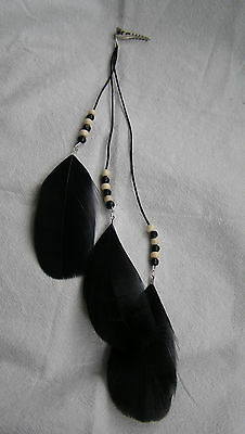 Pagan Hippy Feather and Crystal Beads Hair Clips New Wiccan