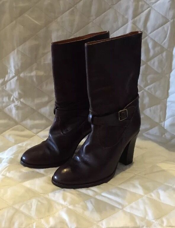 J CREW Parker Boots Extended Calf WOMENS Size 7 Dark Brown  378 Buckle