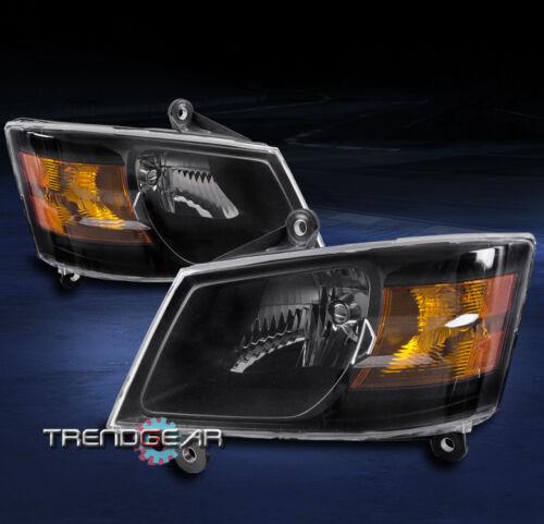 2008-2010 DODGE GRAND CARAVAN CRYSTAL REPLACEMENT HEADLIGHT LAMP ASSEMBLY BLACK