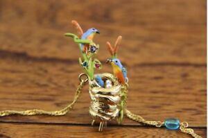 Les-Nereides-BIRD-CHICK-Kingfisher-Martin-Pecheur-Flower-Enamel-Crystal-Necklace