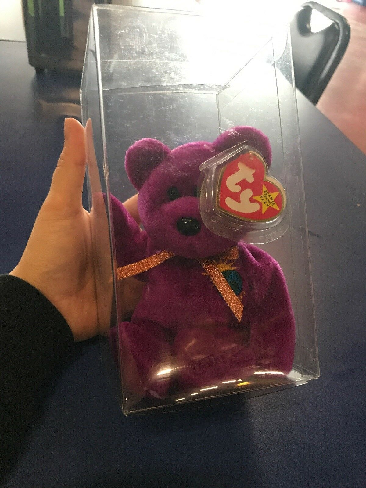 TY Millennium Bear BEANIE BABY with tags and mistakes - 1999
