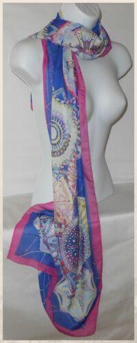 007 Scarf,Silky Chiffon,Long,Blue,Pink...Silky Chiffon Abstract Style Scarf