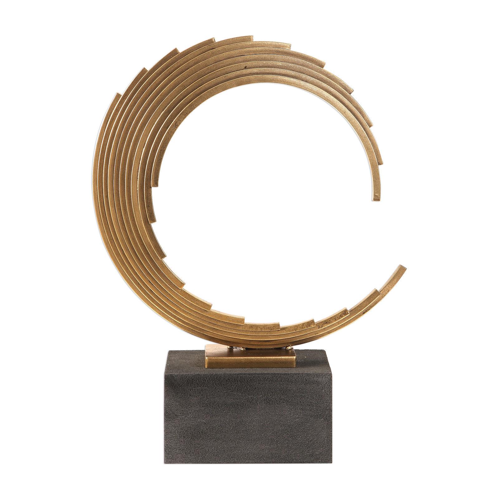 Moderno Abstracto Escultura De Hierro Onda De oro   Curvo rojoondo Círculo estatua de Base Negra
