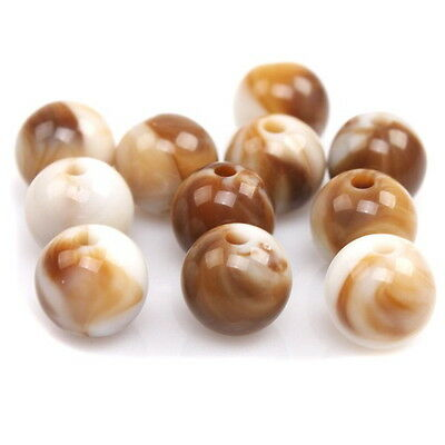 20pcs 113184 Newest Arrive Coffee White Round Acrylic Beads 10mm Charms Findings