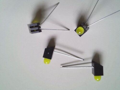 4 Stück LED 5mm Gelb mit Halter 90 Grad gebogen