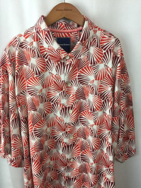 Tommy Bahama Shell We Dance 100/% Silk Camp Shirt Mens XLT NWT $148 Caliente Red