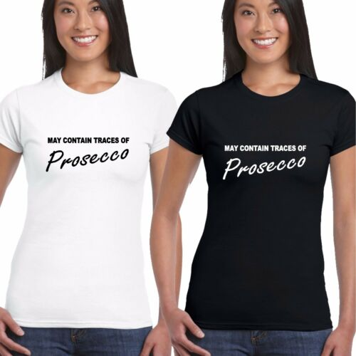 May Contain Prosecco LADY FITTED GIRLY T Shirt Tee Blogger Top Vodka Alcohol hen