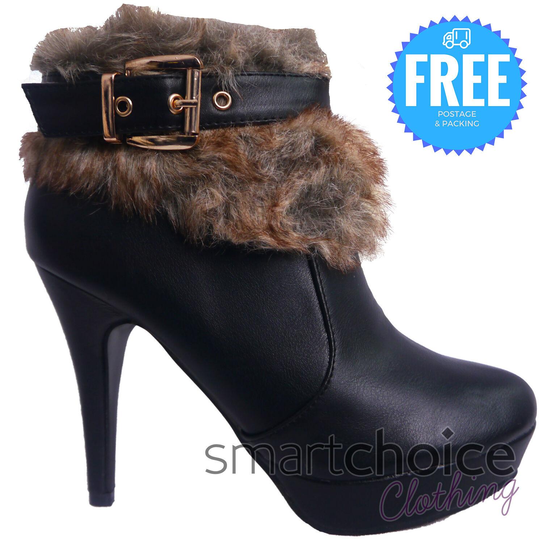 Women Furry Buckle Stiletto High Heels Ankle Boot Girl Warm Leather Look Zip