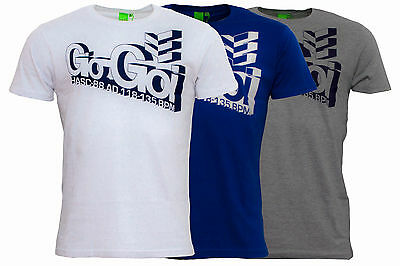 New Men's Gio-Goi Tizzent Logo T-Shirt Top - Navy Blue White Grey