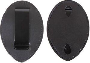 Black-Leather-Clip-On-Badge-Holder-Uniform-Shield-Law-Enforcement-Security-Duty