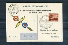 Luxemburg-Bruxelles Carte Aéropostale 1er Vol Postal - b2434