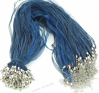 10x 130022 Wholesale Deep Blue Silk Ribbon & Waxed Cord Necklace Findings 46cm