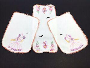 Set-of-3-Small-Dresser-Scarves-Handmade-Embroidered-Crochet-Ladies-amp-Flowers