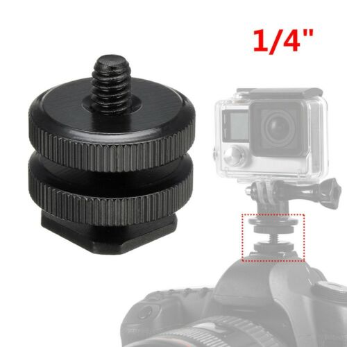 "1//4/"" camera doppia slitta Adattatore Mount per GoPro DSLR Video Stativo TW"