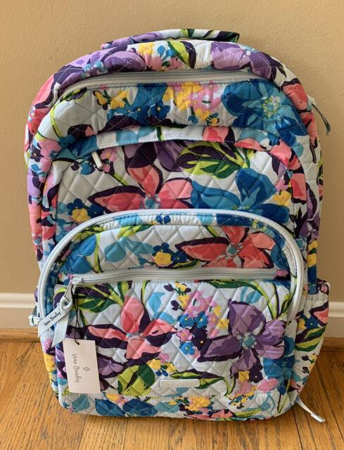 VERA BRADLEY Essential Large Backpack Bag Marian Floral Padded Laptop NWT