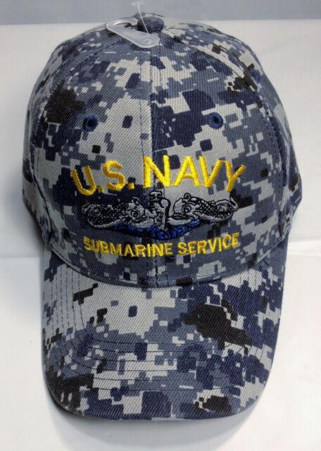 df374e706e8 US Navy Submarine SERVICE Ball Cap Blue Digital Camo Sub Force Veteran Vet  Hat L