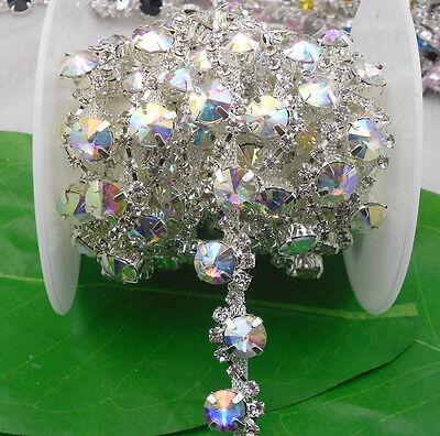 Mix crystal glass 12mm rhinestone close silver chain claw trim Applique 1 Yard S