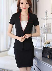 ee00f67f5 La imagen se está cargando Elegante-Traje-Conjunto-de-Mujer-Rojo-Negro- Chaqueta-