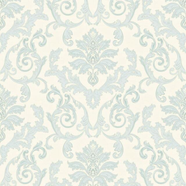 Estelle Cream And Teal Damask Wallpaper Silver Sparkle Textured