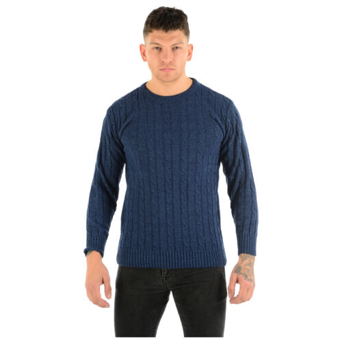 MENS CABLE KNIT JUMPER CHUNKY KNIT PLAIN PULL OVER THICK WINTER CLASSIC SWEATER