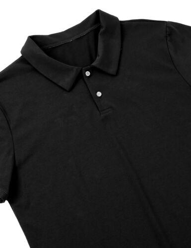 Mens Bodysuit Turn-down Collar Short Sleeve Jumpsuit Underwear Leotard One-piece