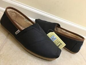 2775f074032 COMFY NEW MENS TOMS CLASSIC BLACK AVIATOR TWILL SLIP ON SHOES 8.5 ...
