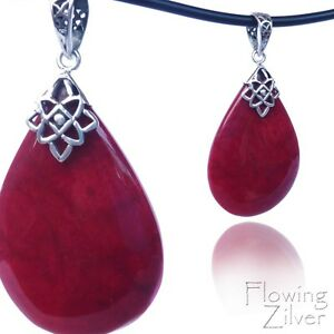Genuine-925-SOLID-Sterling-Silver-Red-Coral-Necklace-Pendant-Tear-Drop-Bali-Gift