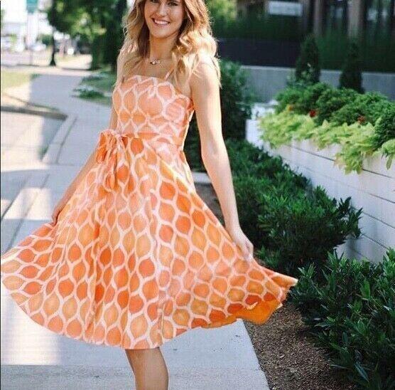 Maeve AnthropologieOrange Geometric Print Freya Poplin Dress Größe 6