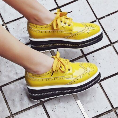 2019 Women Wingtip Shoes Girls Brogues Oxfords Casual Patent Leather Shoes X914
