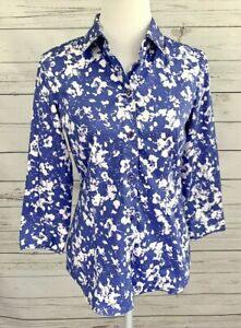 New-York-amp-Company-Top-Womens-Medium-M-Blue-Floral-Button-3-4-Sleeve-Collared