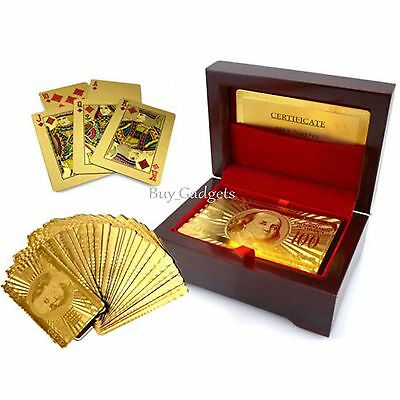 24K Gold Plated Playing Cards Poker Game Deck Certificate £50 Play Box Gifts