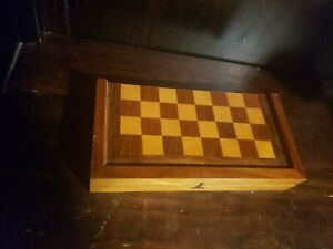 Vintage-Wood-Chest-board-game-Travel-size-fold-in-half-missing-pieces